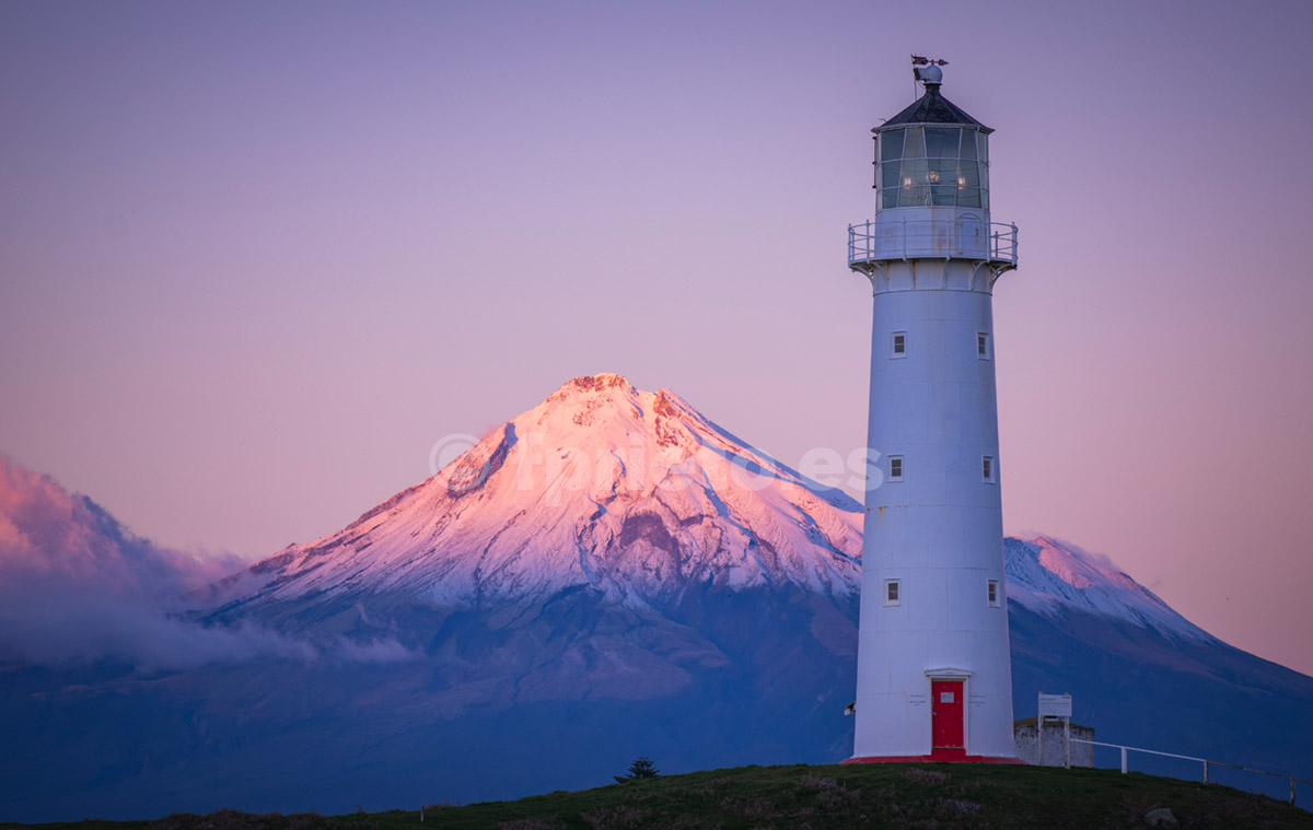 Cape Egmont Lighthouse and Mount Taranaki, New Zealand